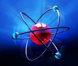Abstract atom symbol over blue backdrop