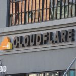 Close-up of logo on facade at headquarters of cyber security company Cloudflare in the South of Market (SoMA) neighborhood of San Francisco, California, June 10, 2019. (Photo by Smith Collection/Gado/Getty Images)